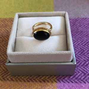 Jewelry - 💜Genuine Onyx ring set in 14k gold plated